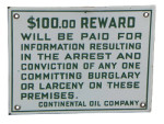 Continental Oil Reward Sign