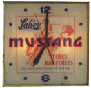 Laher Mustang Tires Batteries Lighted Clock