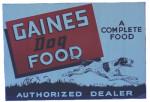 Gaines Dog Food Dealer Sign