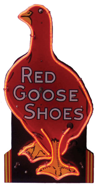 Red Goose Shoes Neon Sign Antique Advertising Value And