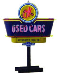 Neon OK Used Cars Sign