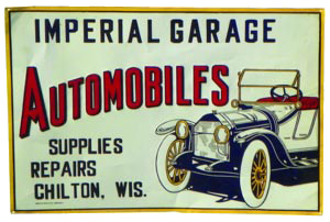 imperial garage automobiles sign antique advertising value and price guide. Black Bedroom Furniture Sets. Home Design Ideas