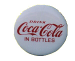 Coca Cola White Button Sign