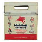 Mobiloil Outboard Oil and Cardboard Carrier