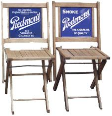 Folding Piedmont Cigarette Chairs Antique Advertising