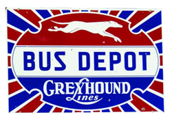 Greyhound Lines Bus Depot Sign | Antique Advertising Value ...