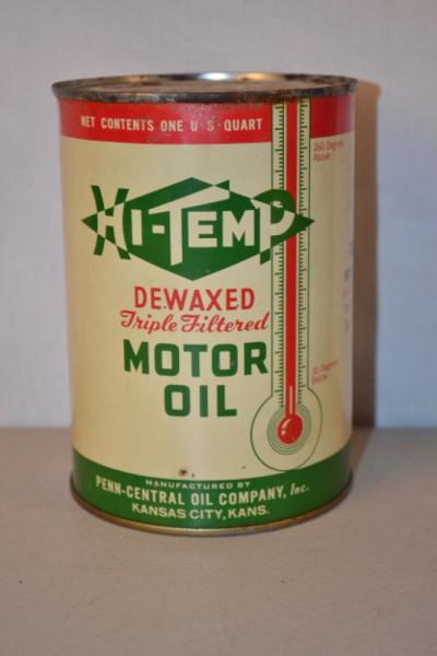 Hi Temp Motor Oil Round Metal Can Antique Advertising