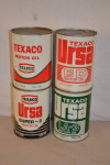 Texaco Motor Oil Round Metal Cans