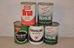 Five Motor Oil Round Metal Cans