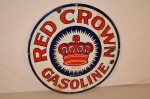 Red Crown Gasoline Single-Sided Porcelain Sign