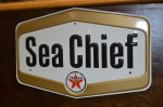 Texaco Sea Chief Single-Sided Tin Embossed Sign