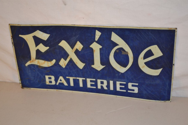 Exide Batteries Single Sided Tin Tacker Sign Antique