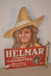 Helmar Cigarettes Porcelain Die-Cut Flange Sign