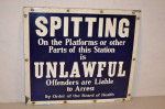 Train Platform Spitting Single-Sided Porcelain Sign