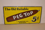 Peg Top Cigar Single-Sided Porcelain Sign