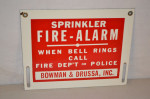 Sprinkler Fire Alarm Single-Sided Porcelain Sign