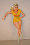 Veedol Skater Girl Single-Sided Tin Diecut Sign