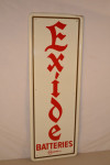 Exide Batteries Single-Sided Tin Vertical Embossed Sign
