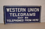 Western Union Porcelain Flange Sign