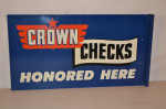 Crown Checks Tin Flange Sign