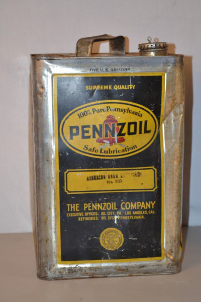 Pennzoil Motor Oil Square Metal Can Antique Advertising