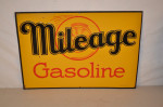 Mileage Gasoline Single-Sided Tin Embossed Sign