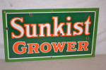 Sunkist Single-Sided Porcelain Sign