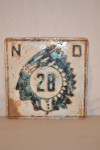 North Dakota Route 28 Single-Sided Tin Embossed Sign