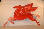 Mobil Pegasus Single-Sided Porcelain Diecut Sign