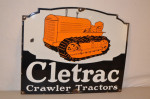 Cletrac Crawler Tractors Single-Sided Porcelain Diecut Sign