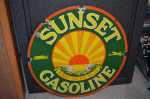 Sunset Gasoline Double-Sided Porcelain Sign