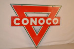 Conoco Triangle Double-Sided Porcelain Diecut Pierced Sign