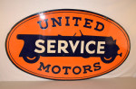 United Motors Double-Sided Porcelain Oval Sign