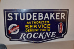 Studebaker Rockne Double-Sided Porcelain Sign