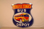 Peerless Stages Double-Sided Porcelain Diecut Sign