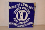 K-W Magnetos & Spark Coils Double-Sided Flange Sign