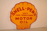 Shell-Penn Single-Sided Porcelain Clam-Shaped Sign