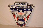 National Automobile Club Single-Sided Porcelain Diecut Sign