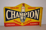 Champion Spark Plugs Tin Flange Sign