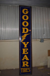 Goodyear Vertical Wood Frame Porcelain Sign
