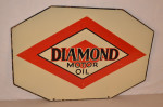 Diamond Motor Oil Double-Sided Porcelain Diecut Sign