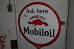 Mobiloil Double-Sided Porcelain Lollipop Sign