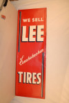 Lee Tires Single-Sided Tin Vertical Wood-Back Sign