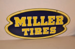 Miller Tires Double-Sided Tin Diecut Sign