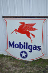 Mobilgas Double-Sided Porcelain Shield-Shape Sign
