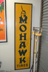 Mohawk Tires Single-Sided Tin Framed Vertical Sign