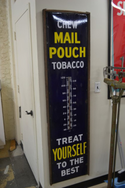 Mail Pouch Tobacco Framed Porcelain Thermometer Antique