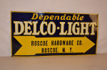 Delco-light Single-Sided Tin Embossed Sign