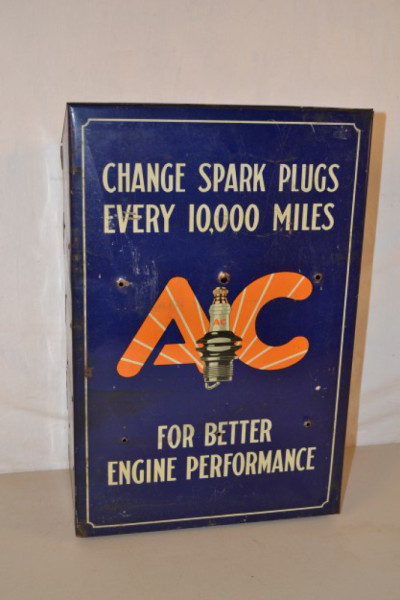 Ac Spark Plug Metal Counter Top Display Cabinet Antique