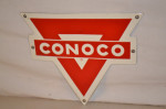 Conoco Single-Sided Porcelain Diecut Sign
